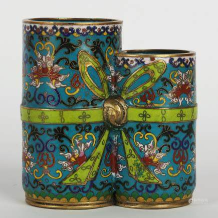 CHINESE CLOISONNE TWIN VASE