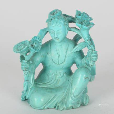 CHINESE TURQUOISE CARVED LADY