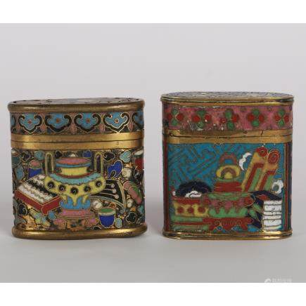 CHINESE TWO CLOISONNE COVER BOX
