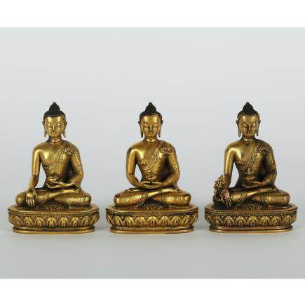 CHINESE SET OF 3 GILT BRONZE SHAKYAMUNI
