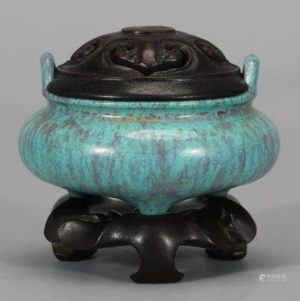CHINESE ROBIN'S EGG GLAZED TRIPOD CENSER
