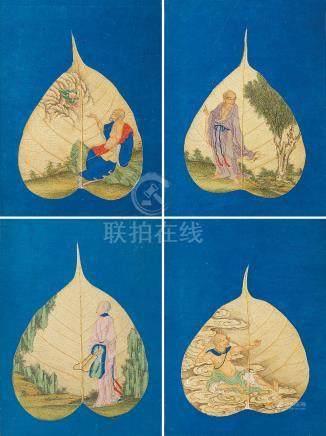 清十八世紀 菩提葉彩繪羅漢圖冊頁