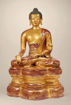 清十八世紀 御製木胎漆金藥師佛坐像