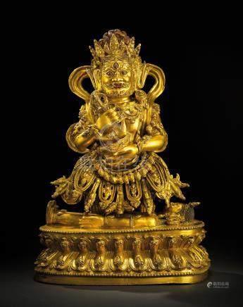 明十五世紀 鎏金銅大黑天金剛立像