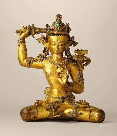 尼泊爾 十四世紀 鎏金銅嵌寶石文殊菩薩坐像