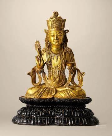 大理國 十二世紀 鎏金銅楊柳觀音坐像