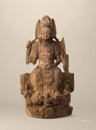 大理國 十二世紀 木雕三面六臂觀音坐像