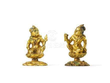 唐 鎏金銅菩薩袖珍像兩件