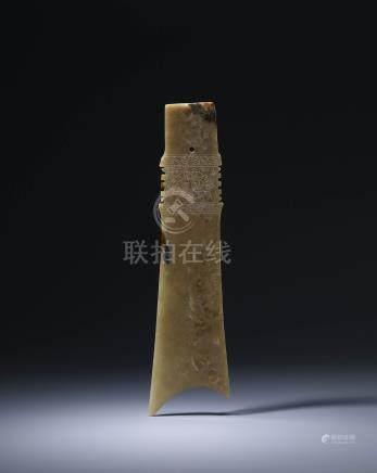 龍山文化  黃玉獸面紋牙璋