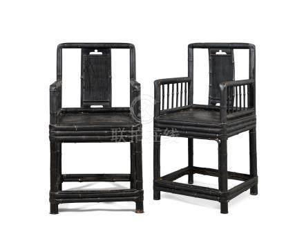 清十八/十九世紀 黑漆竹扶手椅一對