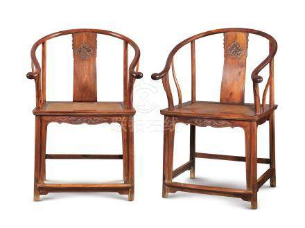 清十七世紀 黃花梨圈椅一對