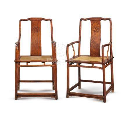 清十八/十九世紀 黃花梨南官帽椅一對