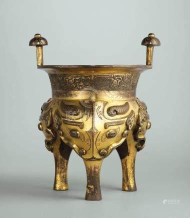 清十八世紀 鎏金銅鬲