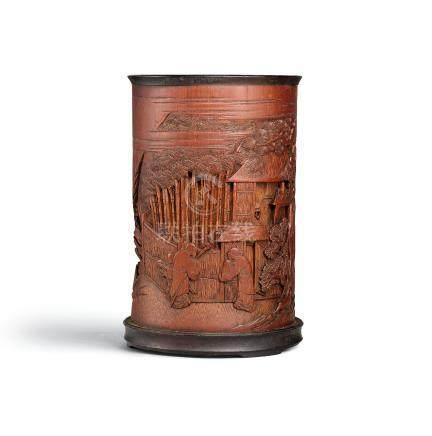 清十八世紀 竹雕松下訪友圖筆筒