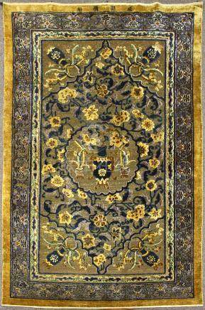 Antique Chinese silk and gilt metal thread carpet, possibly Imperial late 18th / 19th century,