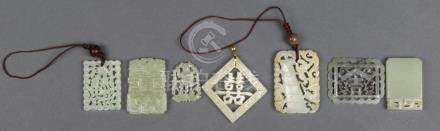 (lot of 6) Chinese hardstone plaques, including two with the character 'fu', one shuangxi, another