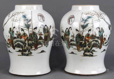 Pair of Chinese porcelain jars, the tapering ovoid body decorated with beauties in a garden,