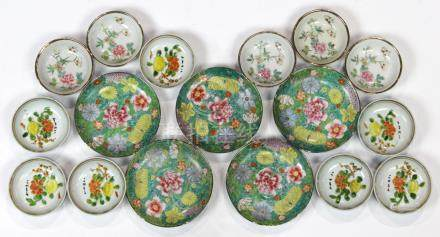 (lot of 17) Chinese porcelain dishes: five sauce dishes with various flowers; seven with a citrus