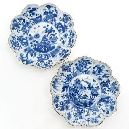 A Pair of Blue and White Decor Plates