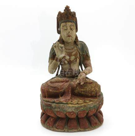 A Carved Wood Chinese Bodhisattva Sculpture