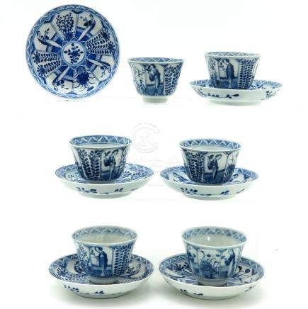 A Series of Six Blue and White Decor Cups and Saucers
