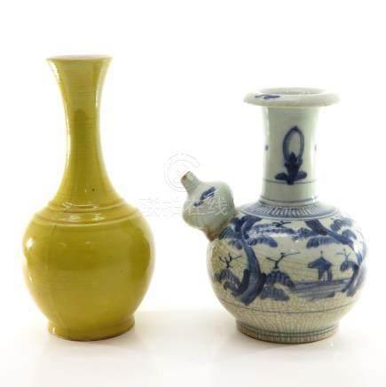A Kendi and Yellow Glaze Vase