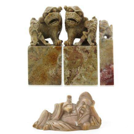 A Collection of Carved Soapstone Sculptures