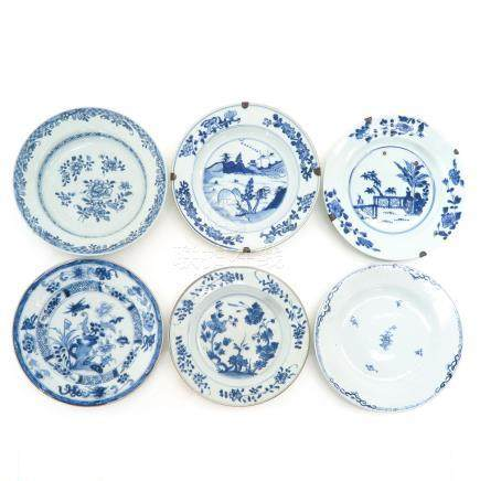 A Collection of Six Blue and White Decor Plates