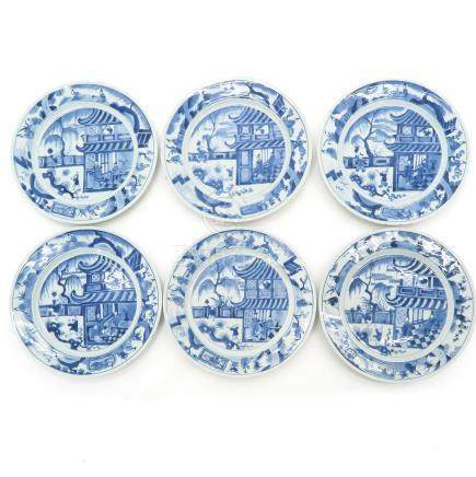 A Series of Six Blue and White Decor Plates