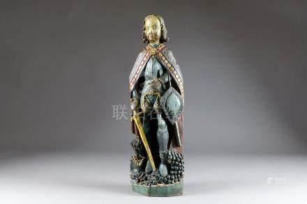 Saint Georges debout, terrasant le Dragon. Bois sculpté et polychromé. XIXe siè