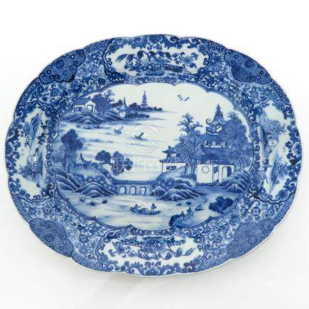 A Blue and White Decor Serving Platter