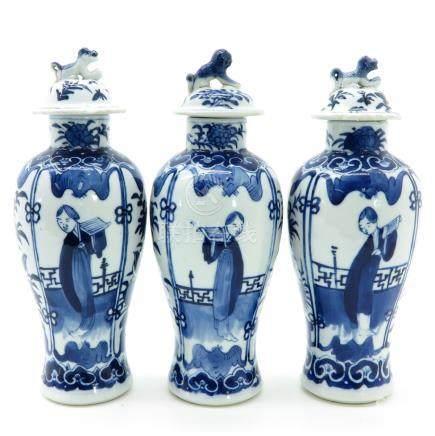 Three Blue and White Garniture Vases