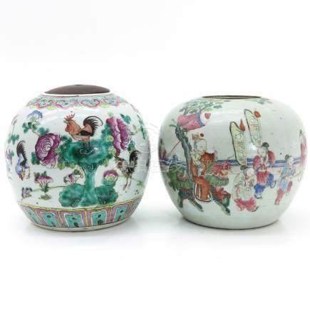 Two Polychrome Decor Ginger Jars