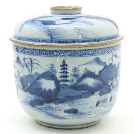A Blue and White Decor Jar with Cover