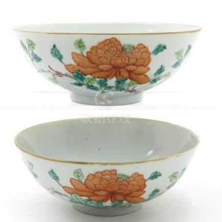 A Pair of Polychrome Bowls