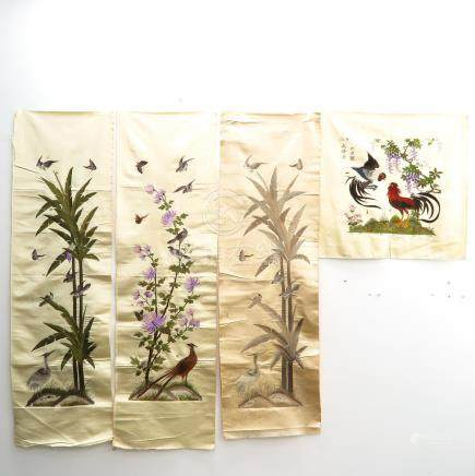 Four Fine Chinese Silk Embroidered Textiles