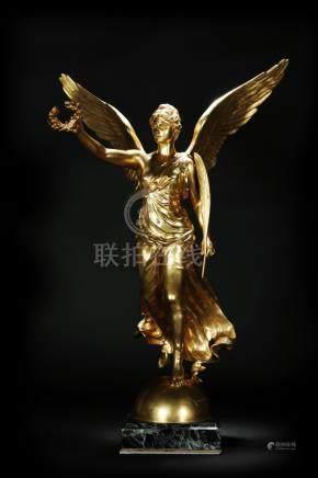 十九世纪 铜镀金胜利女神雕塑 款识:F. Barbedienne Fondeur,Marqueste