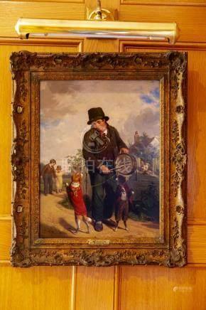 油画,巡回乐手,WILLIAM FREDERICK WITHERINGTON (1785-1865),附签名。