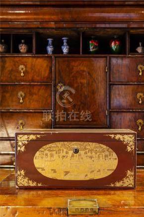 19世纪中国出口红漆镀金茶罐