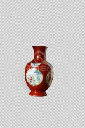 清嘉庆 珊瑚红描金粉彩花蝶开光婴戏图瓶