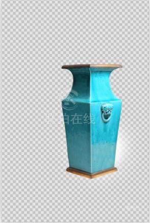 18世纪 孔雀蓝釉兽耳尊
