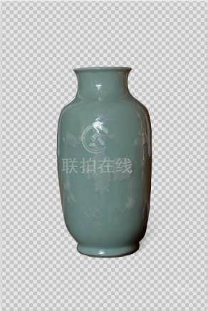 清乾隆 粉青釉堆白博古图灯笼瓶