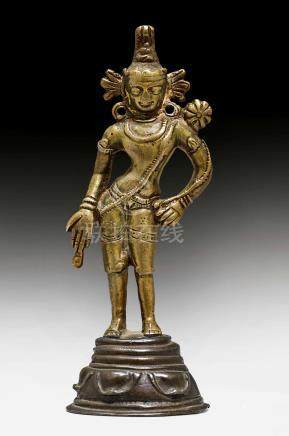 A BRONZE FIGURE OF THE STANDING PADMAPANI.