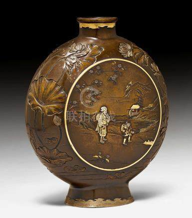 A BRONZE VASE IN THE SHAPE OF A MOON FLASK.