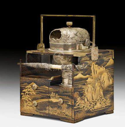 A LACQUER SMOKING SET FINELY DECORATED WITH LANDSCAPES (TABAKO-BON).