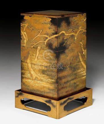 A SUPERB GOLD AND BLACK LACQUERED FIVE-TIERED JUBAKO AND TRAY.