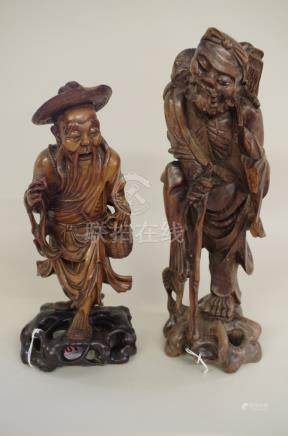 Two Japanese carved wood figures,largest 33cm high.