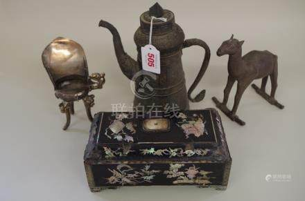 A mixed group of oriental items,comprising: a plated metal tripod wine vesselJu, with three