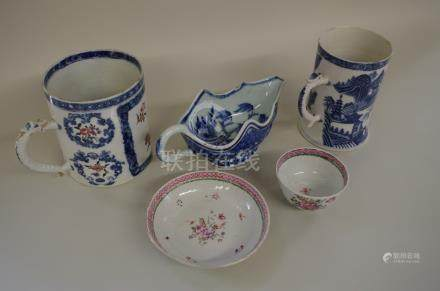 Four Chinese export porcelain items,late 18th century,comprising; two tankards, (chips); a sauce