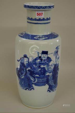 A large Chinese blue and white rouleau vase, Qing, painted with figures, 43.5cm high.